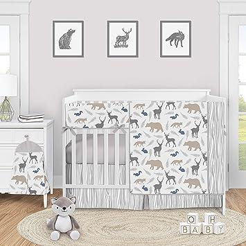 Amazon Com Sweet Jojo Designs Woodland Animals Baby Boy Or Girl Nursery Crib Bedding Set 5 Pieces Blue Grey Tan Forest Bear Deer Fox
