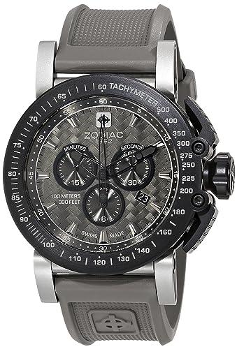 Zodiac ZMX ZO8522 del hombre Racer reloj de acero inoxidable con banda de goma