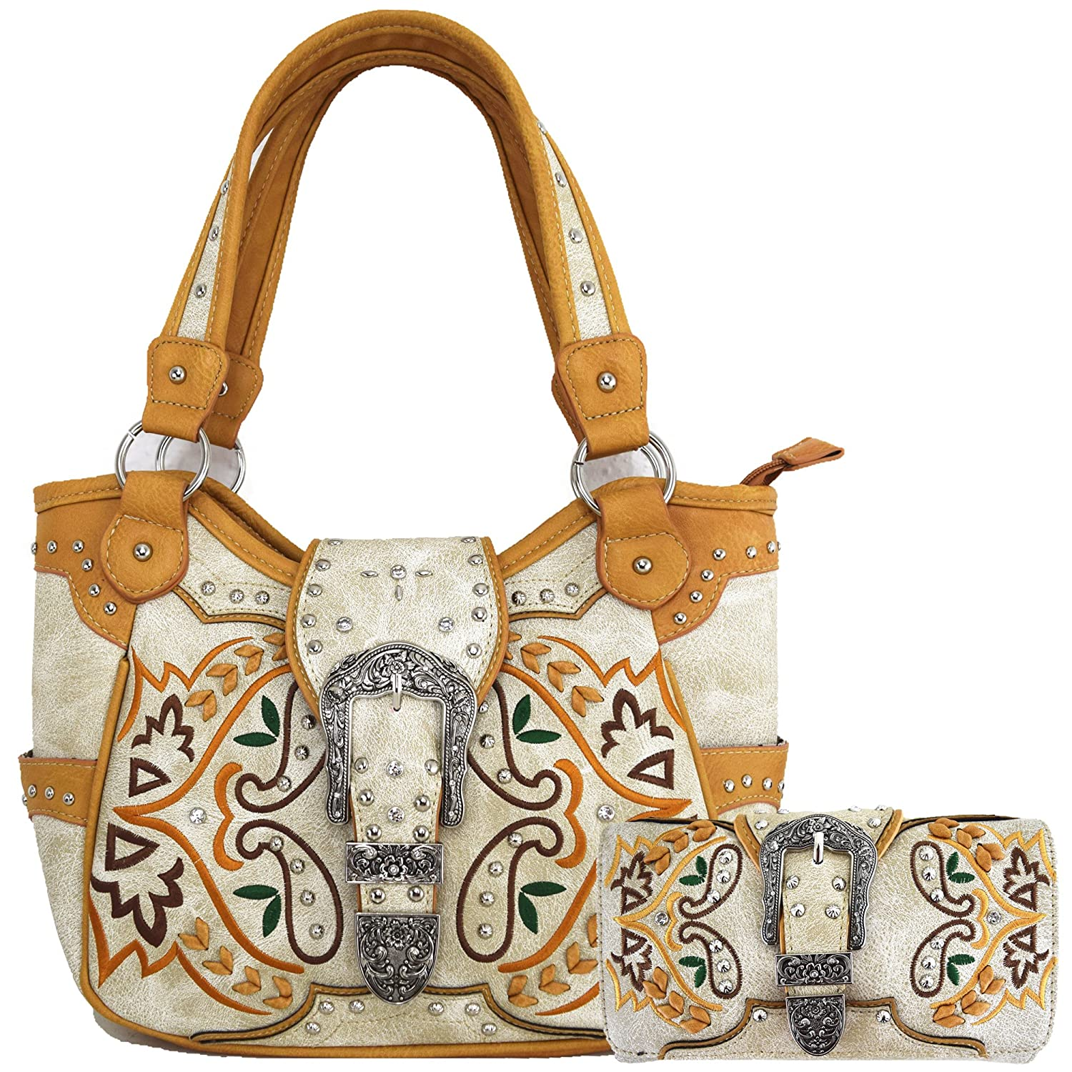 50c511c9fce7 Western Style Buckle Country Purse Concealed Carry Handbag Embroidery Women Shoulder  Bag Wallet Set Beige  Handbags  Amazon.com