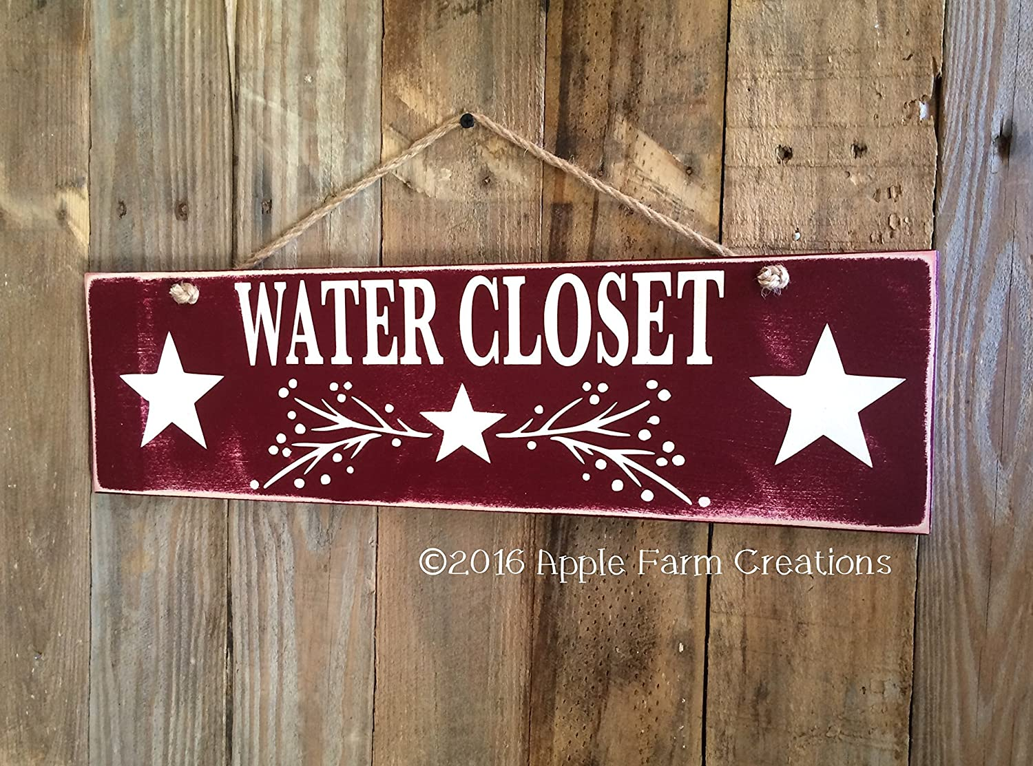 Amazon.com: Burgundy WATER CLOSET Wood Sign with Painted Garland ...