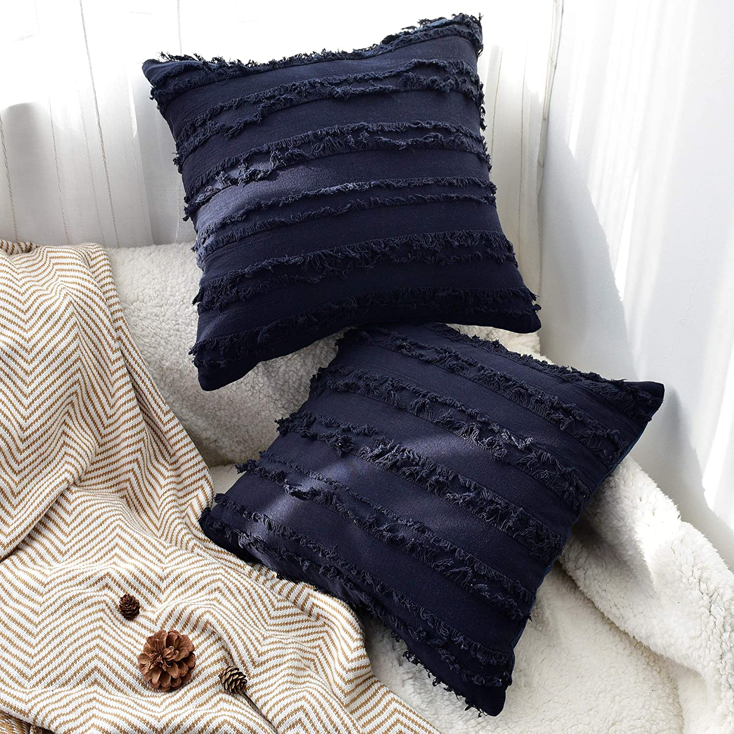 JS HOME Cotton Decorative Throw Pillow Covers, Set of 2, Delicate Home Decorations for Sofa Futon, Chair & Bed (18