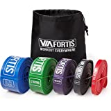 Resistance Band by VIA FORTIS | Fitness Bands for Full Body Workout, Pull Ups, Stretching, and Pilates | 5 Resistance Levels Available - Carry Bag and Exercise Guide Included