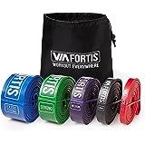 Banda Elástica de Resistencia de VIA FORTIS | Cuerda de Fuerza para Fitness, Crossfit, Pilates, Estiramientos| Incluye Bolsa de Transporte | 5 Niveles de Resistencia Diferentes