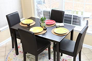 Amazon Com Home Life 5 Pc Black Leather 4 Person Table And Chairs Brown Dining Dinette Black Parson Chair Table Chair Sets