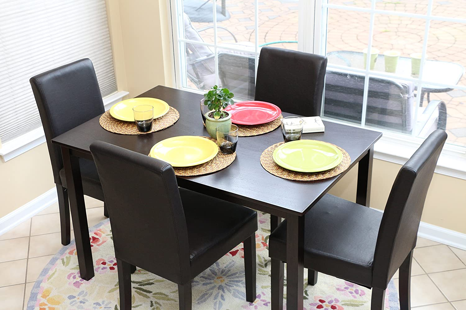 5 PC Black Leather 4 Person Table and Chairs Brown Dining Dinette - Black Parson Chair Superior Importers Company
