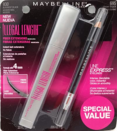 Maybelline New York Illegal Length Fiber Extensions Waterproof Mascara + Eyeliner, Blackest Black [Pack