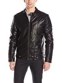 XRAY Mens Moto Faux Leather Jacket Cotton Lightweight Jacket