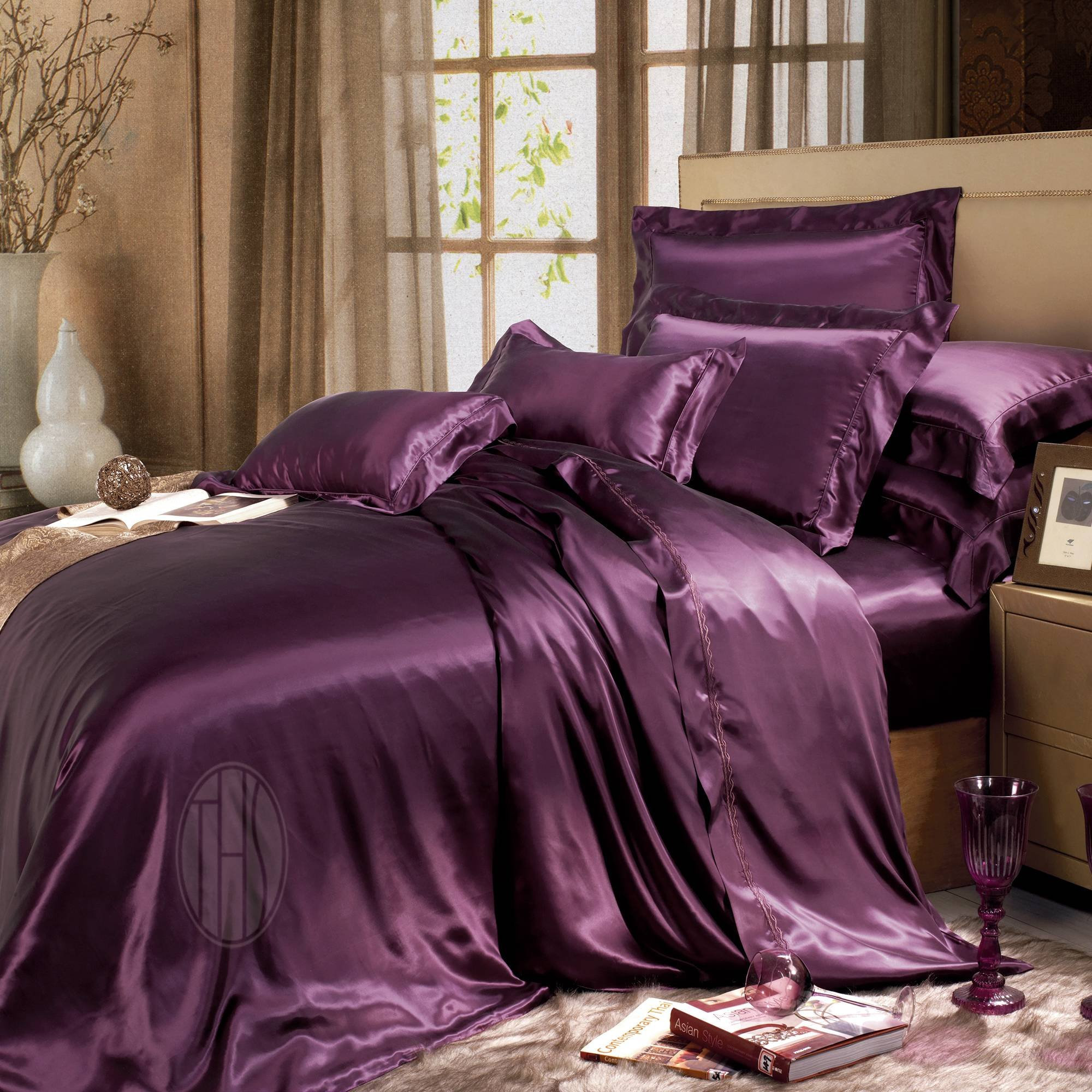 THXSILK Silk Duvet Cover, Silk Comforter Covers, Luxury Bedding - Ultra Soft, Machine Washable, hypoallergenic, Durable -100% Top Grade Mulberry Silk, King Size, Dark Magenta