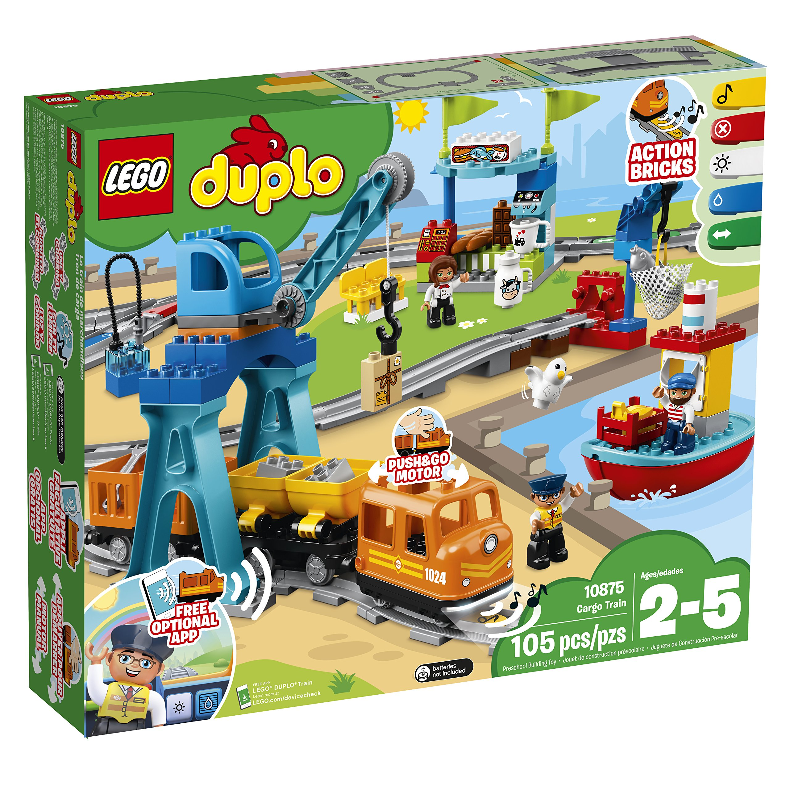 LEGO DUPLO Cargo Train 10875 Battery-Operated Building Blocks Set, Best Engineering and STEM Toy for Toddlers (105 Pieces) (Amazon Exclusive) by LEGO DUPLO Trains (Image #4)