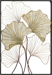 Tropical Gingko Leaf Wall Sculpture, Framed, Composition Panel, Faded Gold Gilt, Layered Patina, Oxidized Wire, Abstract Wall Art, Framed, Hand Made Welded Metal , 30.0 W x 42.25 H Inches