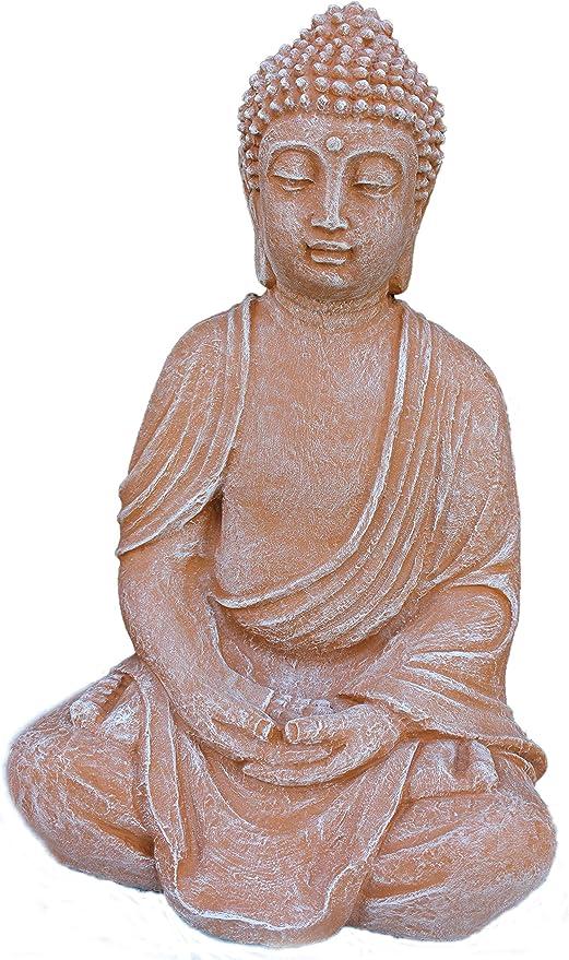 Figura de piedra, Figura de Buda Jardín Piedra fundido Terracota pátina: Amazon.es: Jardín