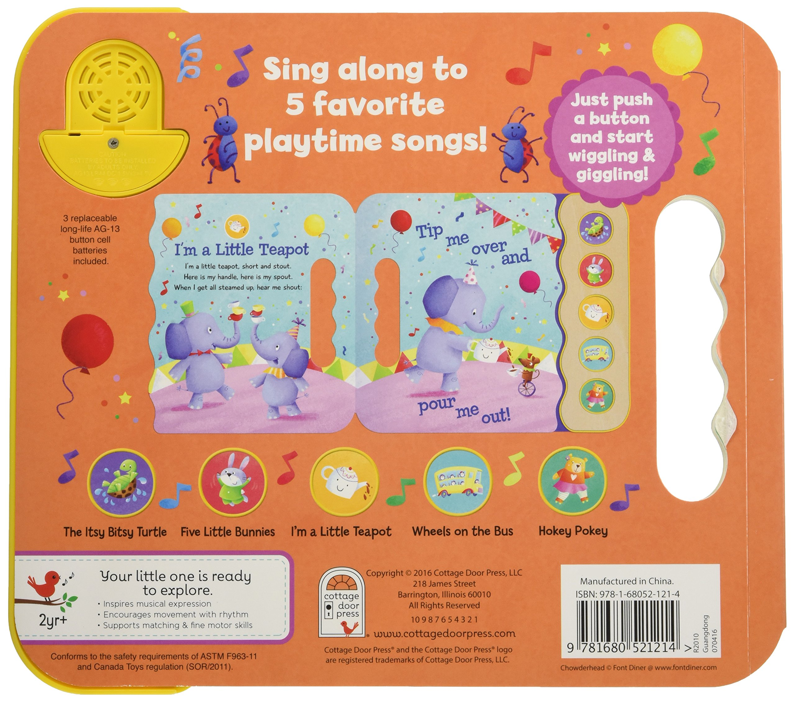 Wiggle, Jiggle, Sing & Giggle: Children's Sound Book (5 Button Sound) by Cottage Door Press (Image #2)