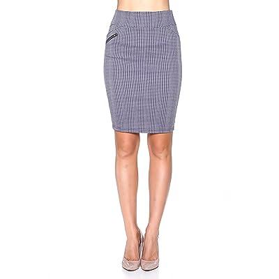Rokoko Women's High Waist Knee Checkered Zipper Office Skirt at Women's Clothing store