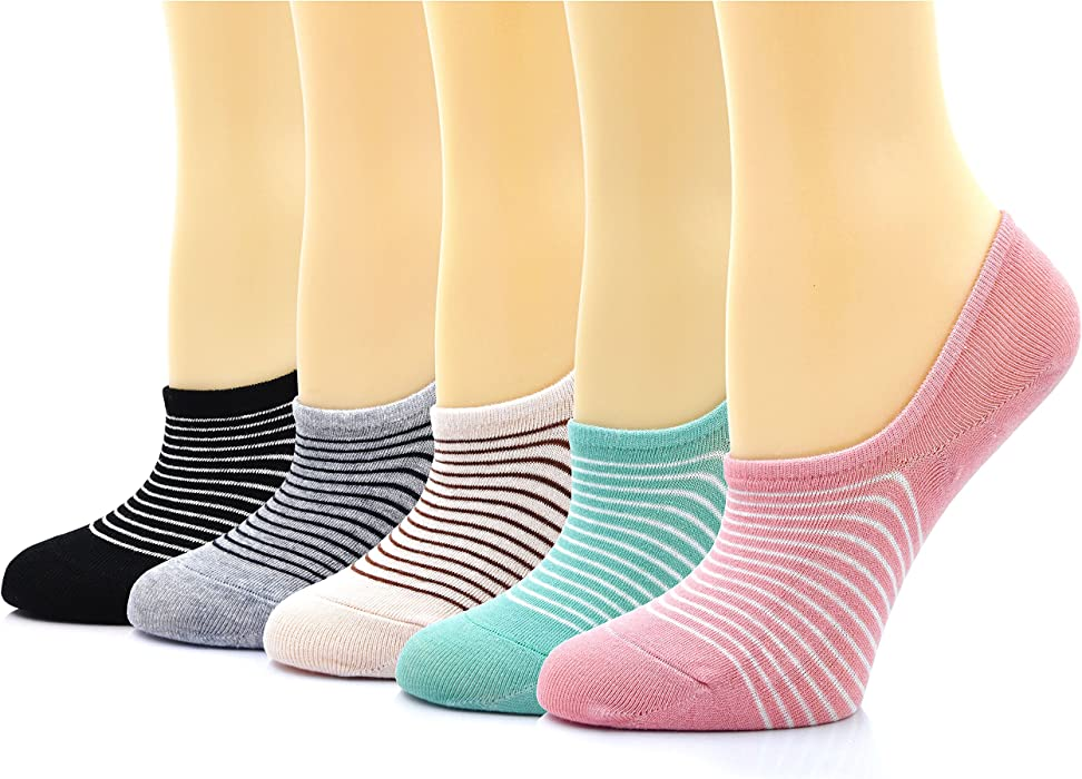 Womens Low Cut No Show Cotton Liners Striped Socks with Non-Slip Grips 5  Pairs ed38d60b7
