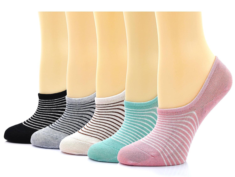 4 Pairs No Show Socks for Women Cotton Anti Skid Liner Boat Sneaker Socks