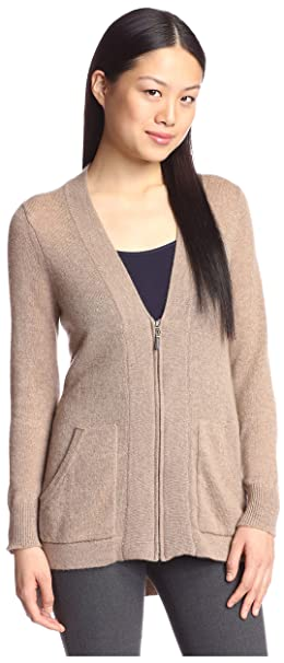 Amazon.com: Cashmere Addiction Hi-Lo de la mujer Zipper ...