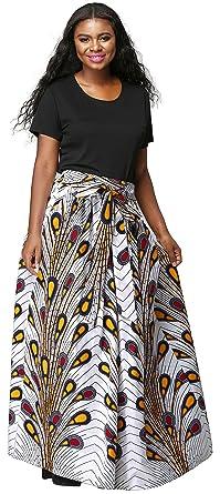 fe227eb2d3 Shenbolen Women African Print Skirt Dashiki Maxi Skirt Ankara Skirt  (Medium, C)