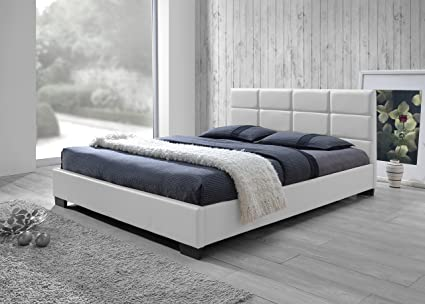 . Baxton Studio Vivaldi Modern and Contemporary White Faux Leather Padded  Platform Base Queen Size Bed Frame