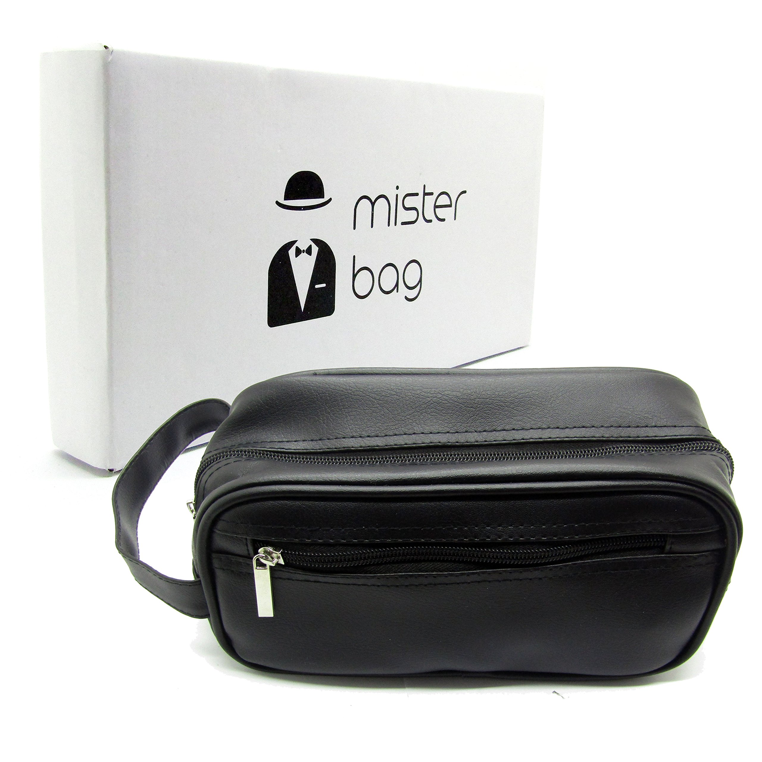 Mister Bag Leather Toiletry Bag Travel Toiletries Bag, Black