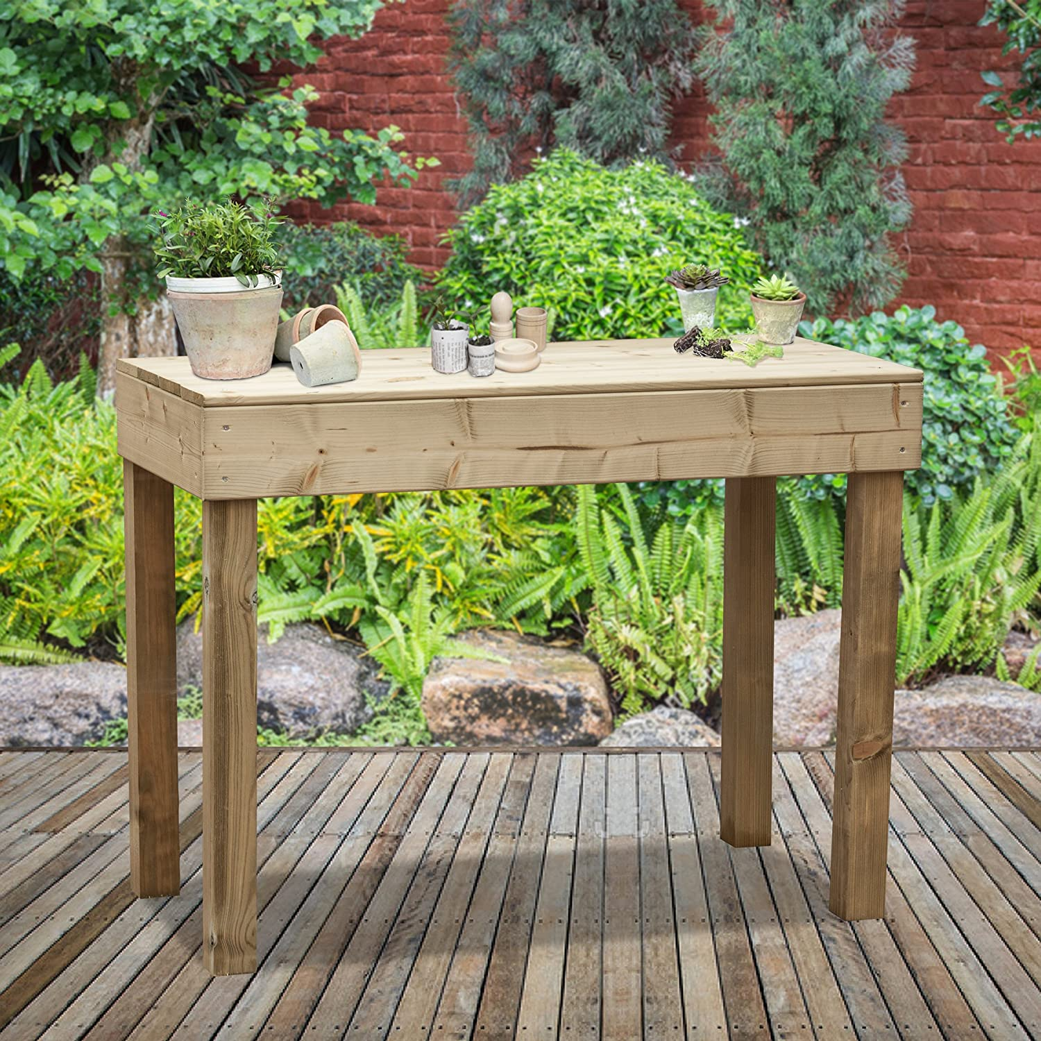 Greena® Wooden Garden Display Bench - Greenhouse Table/Germination Station/Flower Potting Table/Workshop Table/DIY Bench/Wooden Seat/Greenhouse Storage (H45 x W60 x D30cm)