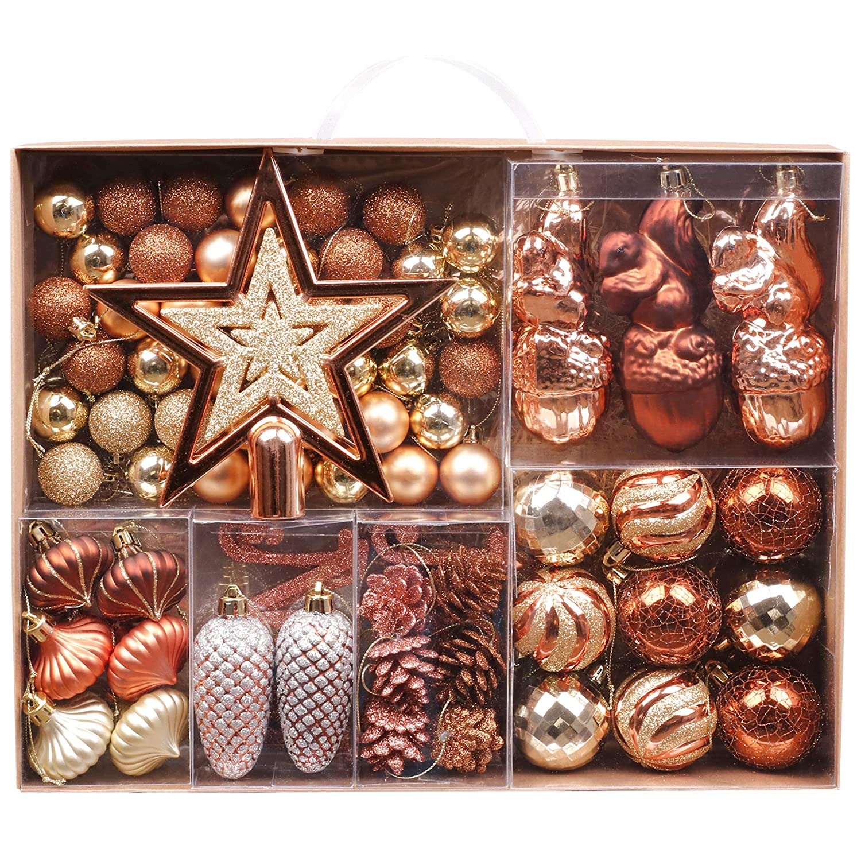 Lametta Girlande Weihnachtsbaum Schmuck Weihnachtsdeko mit Sternen Rot Gold