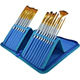 Paint Brushes - 15 Pc Art Brush Set for Watercolor, Acrylic, Oil & Face Painting | Short Handle Artist Paintbrushes with Travel Holder & Free Gift Box | 1 Year Warranty (Cool Blue)