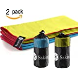 """Quick Drying Microfiber Compact Sport Towel. 40""""x20"""" For Exercise, Gym, Sport, Yoga, Travel, Camping, Hiking (2 or 1 packs)"""
