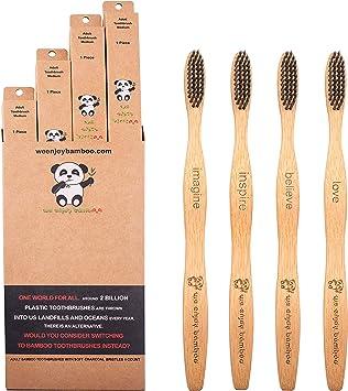 Cepillo de Dientes Madera de Bambú con Cerdas Suaves Carbon ...