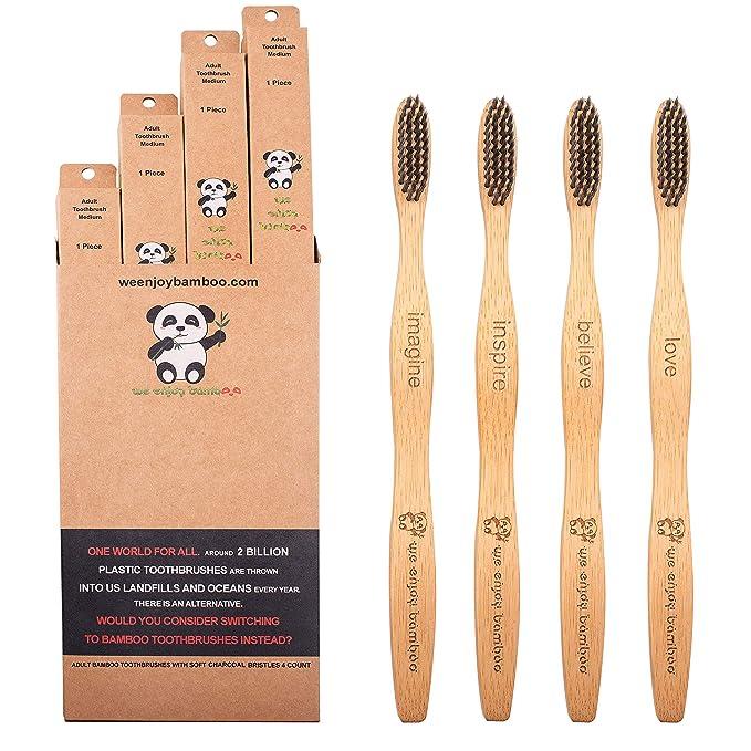 8 opinioni per 4x Spazzolino Bamboo Denti I Vegano, Carbone Attivo, Setole Morbide, Senza BPA I