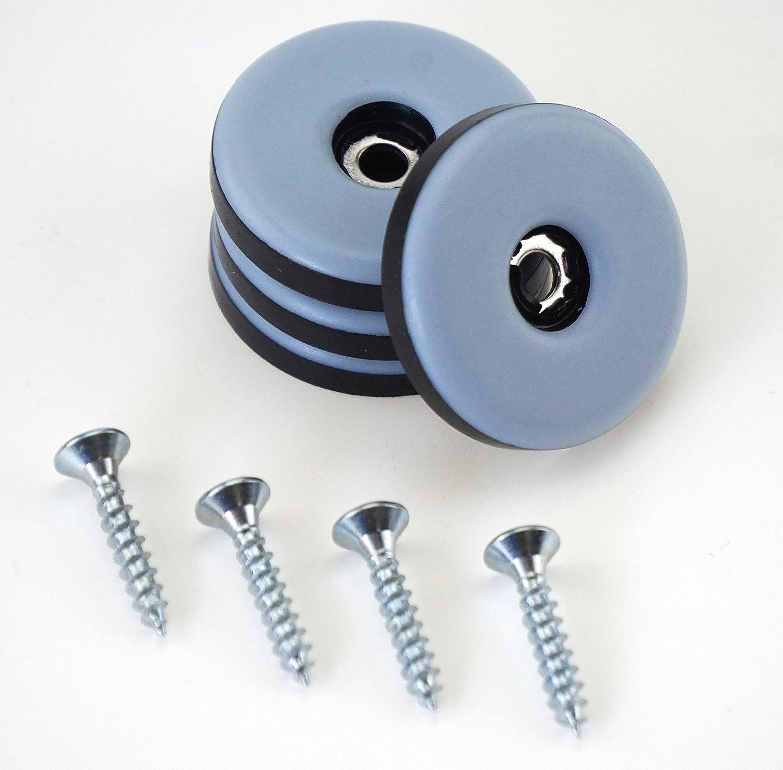 16/unidades tefl/ón redondo con tornillo, di/ámetro 30/mm, grosor 5/mm Para Muebles