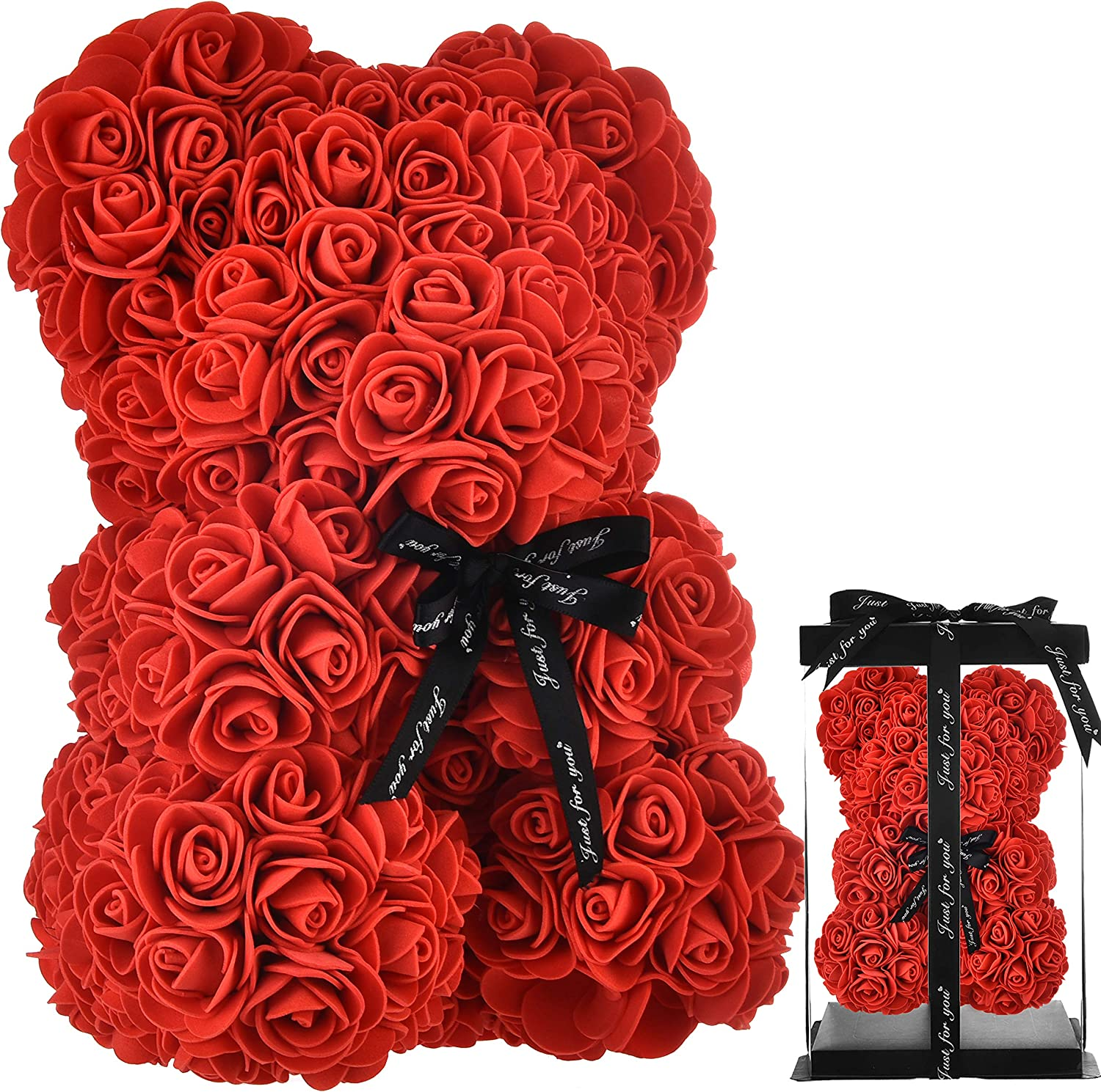 Rose Bear red Rose Teddy Bear women gifts for mom gifts birthday girlfriend gifts for her ,Teddy Bear flower Rose flowers bear for Anniversary Wedding Birthday Mothers Day Etc - w/Clear Gift Box (red)