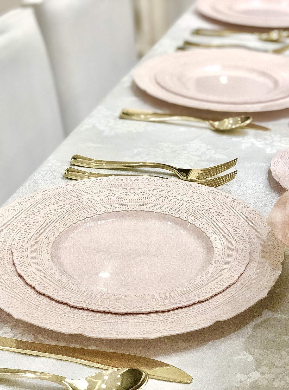 60 x 7.5 Salad//dessert 60 x 10.5 Dinner Plain White OCCASIONS 120 Piece Pack Heavyweight Wedding Party Disposable Plastic Plates Set