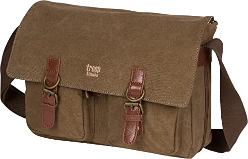 Troop London Canvas Messenger Bag Fits Up To 14 Inch Laptop Size Medium TRP0210 2 – Brown