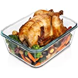 14 Cup/ 112 oz LARGE Glass Food Storage Container with Locking Lid. Ideal for Storing food, Vegetables or Fruits. Baking Cass