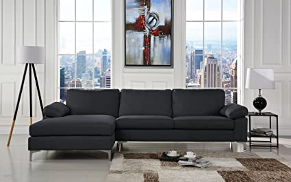 Amazoncom Modern Large Linen Fabric Sectional Sofa L Shape Couch