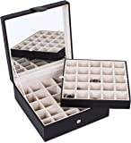 Internet's Best Faux Leather Grid Jewelry Box   2 Tier 25 Slot Jewelry Trays for Rings, Earings, Small Bracelets & Necklaces   Black