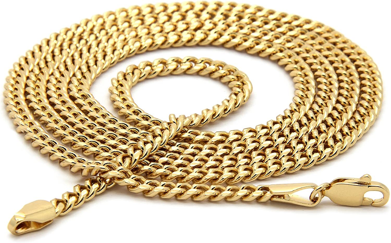 Mens Gold Tone Female Pharaoh Pendant Hip-Hop 3mm 30 Inch Cuban Chain zz03