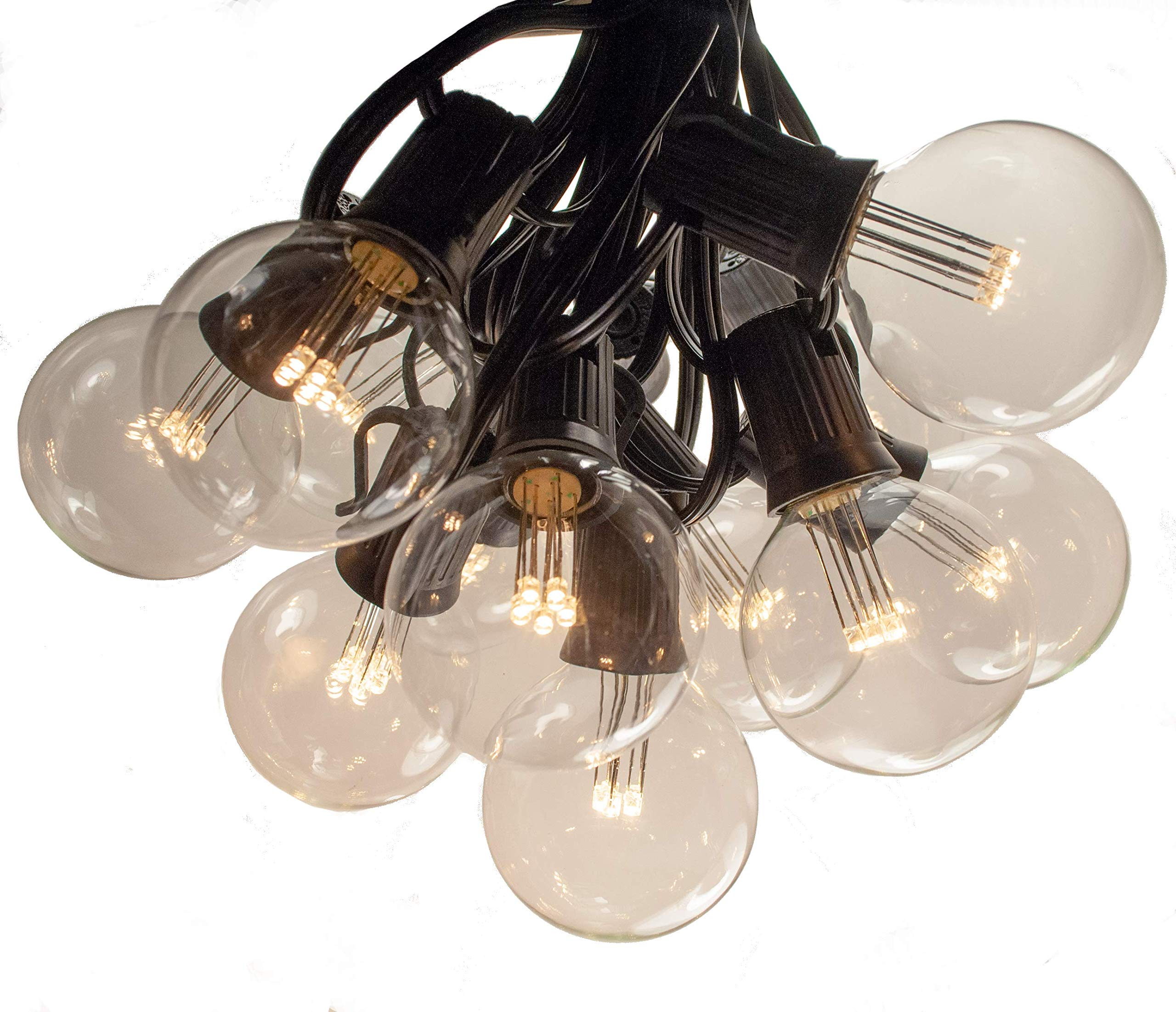 25 Foot LED Warm White Outdoor Globe Patio String Lights - Set of 25 LED G50 Clear 2 Inch Bulbs with Black Cord