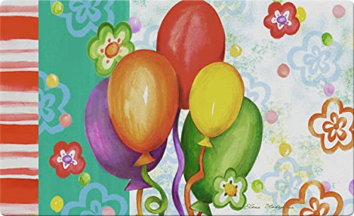 Toland Home Garden Birthday Bash 18 x 30 Inch Decorative Party Floor Mat Colorful Balloon Doormat