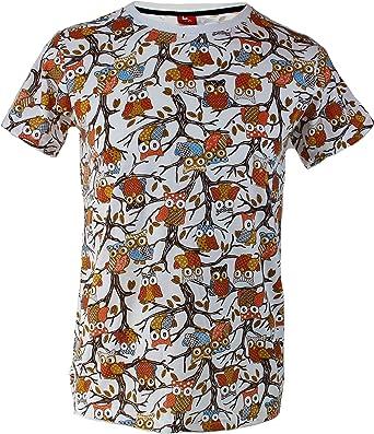 TRANKILO Camiseta Estampado de búhos (L): Amazon.es: Ropa y accesorios