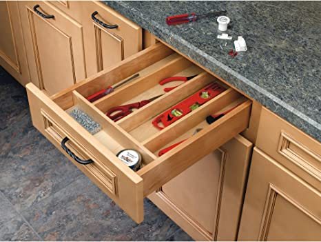 Rev-A-Shelf 4WUT-1SH Kitchen Drawer Cabinet Storage Organizer Trim to Fit  Shallow Wood Utility Tray Insert, Natural