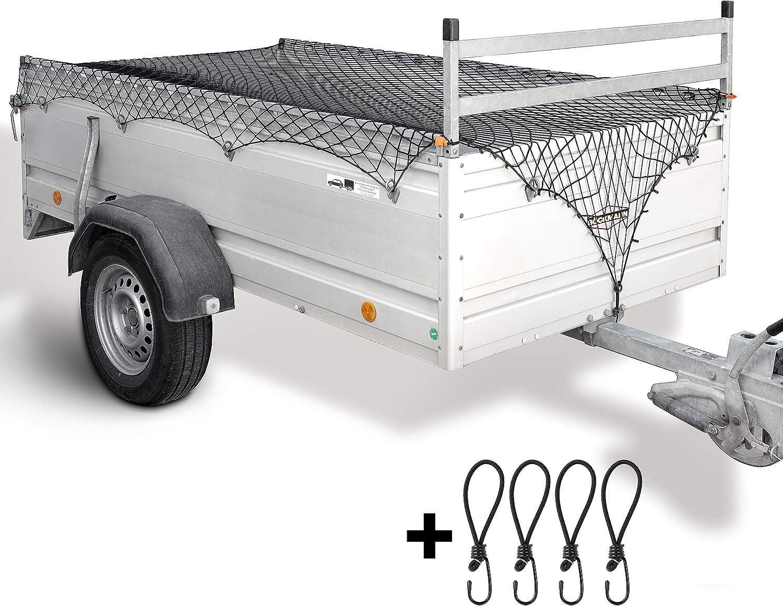 Lampox Anhängernetz Für Größen 1x2 M Bis 2x3 M Inkl 4x Haken Eckenmarkierungen Dehnbar Für Anhänger Ladungssicherung Hängernetz Schwarz Auto