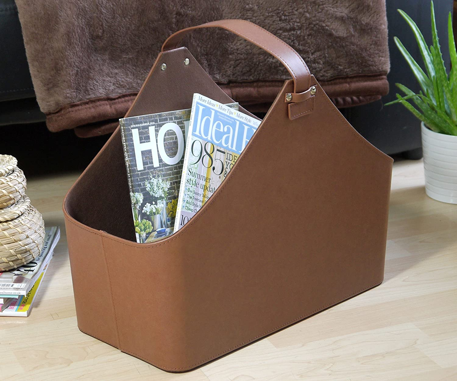 Contemporary Brown Faux Leather Magazine Rack Newspaper Storage box Tesco
