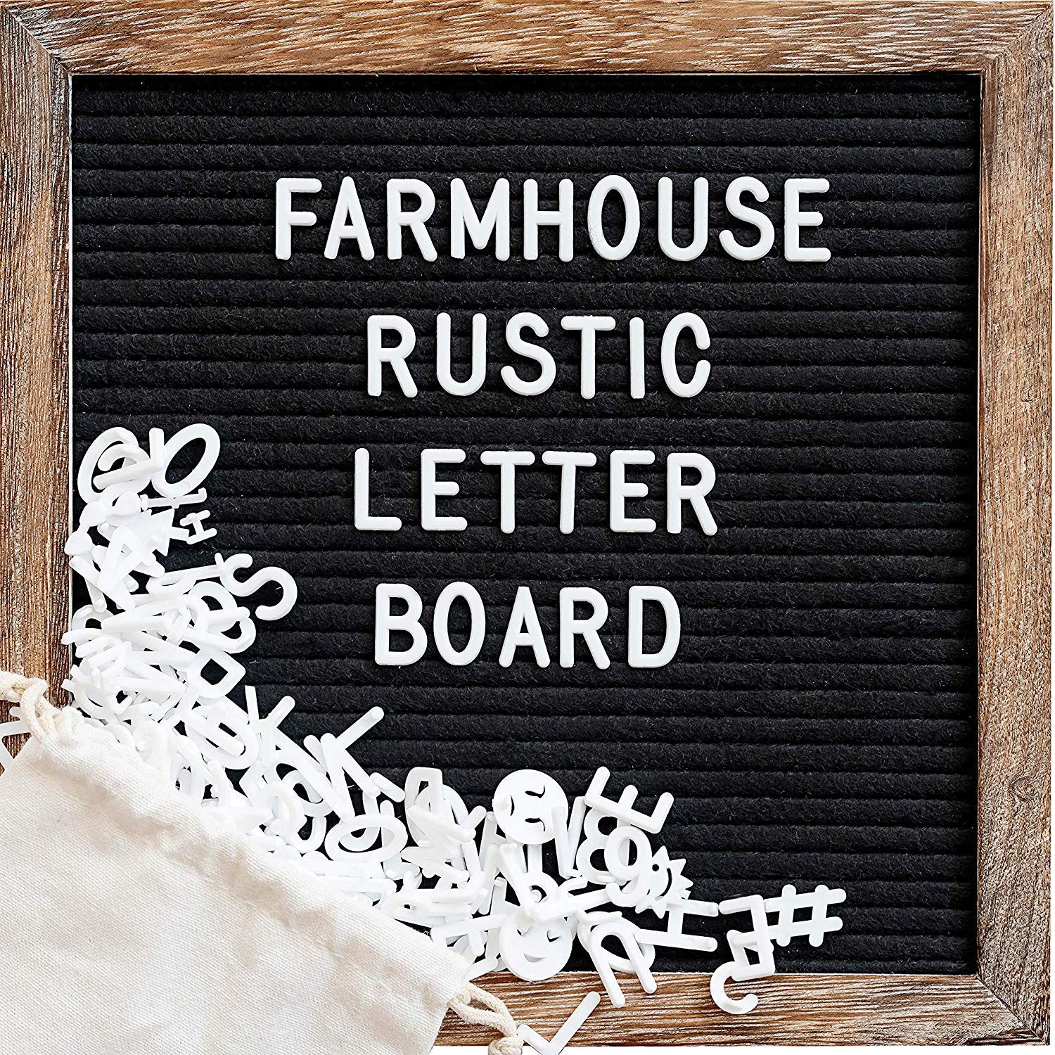 Felt Letter Board with 10x10 Inch Rustic Wood Frame, Script Words, Precut Letters, Picture Hangers, Farmhouse Wall Decor, Shabby Chic Vintage Decor, Black Felt Message Board