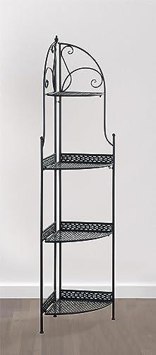 eHemco 4 Tier Metal Folding Corner Rack Shelf in Black