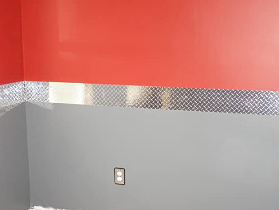 8 Inch X 40 Feet Vinyl with Adhesive Diamond Plate Wall Border