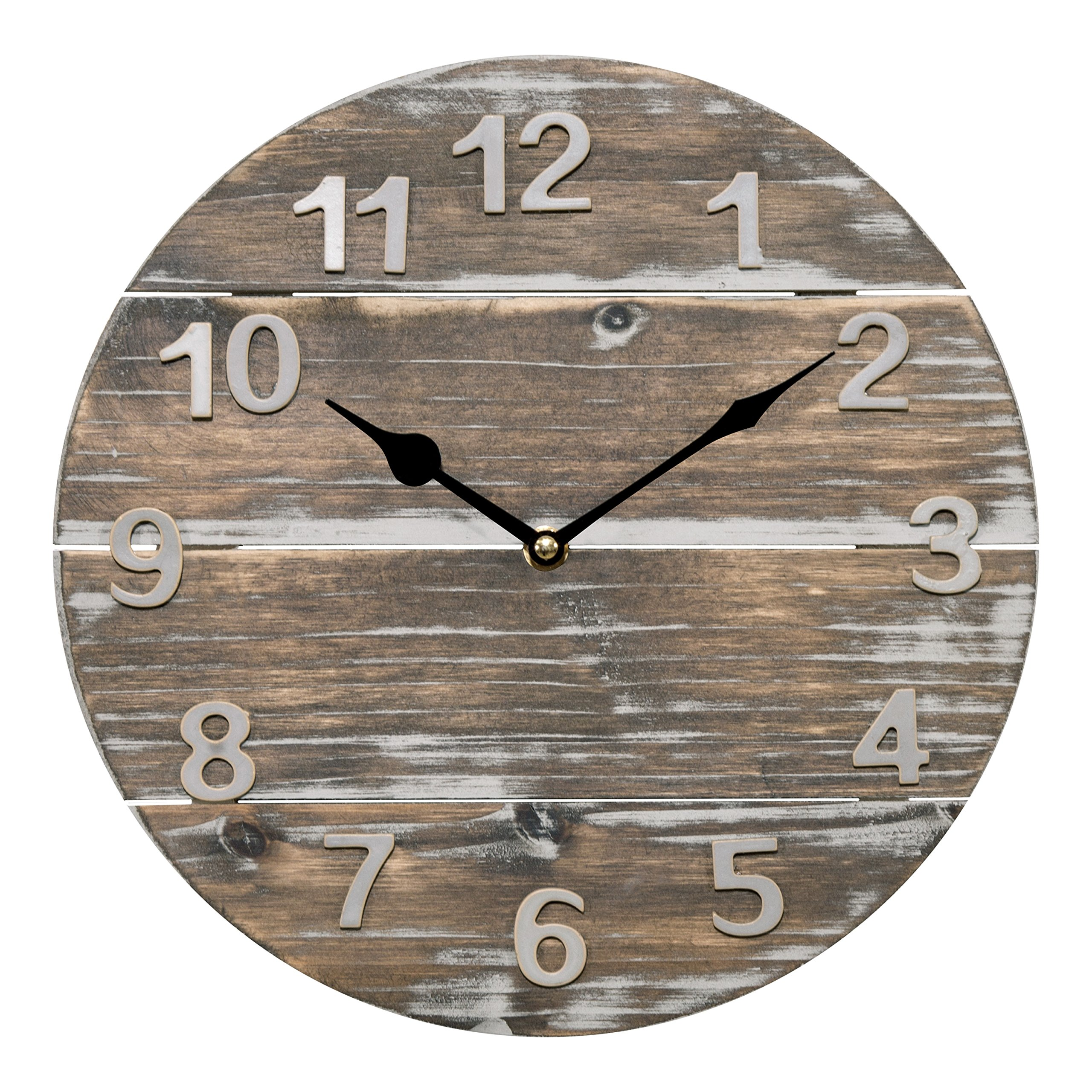 Lacrosse 404-3430W 12'' Quartz Wood Panel Wall Clock, Brown