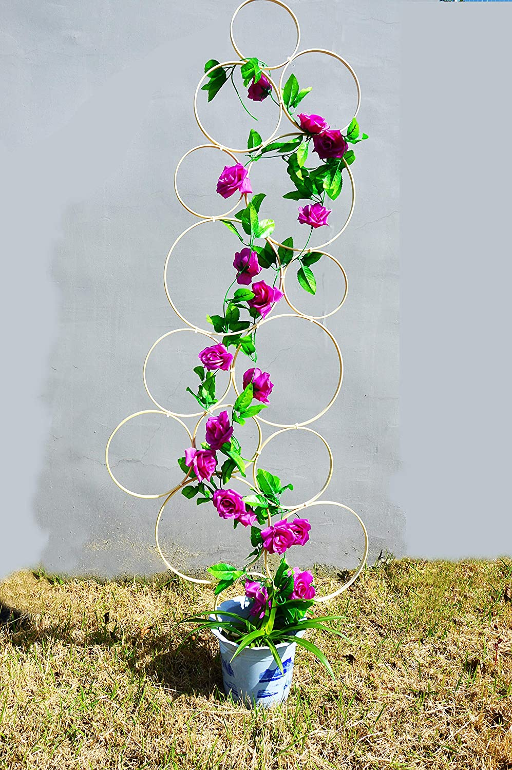 SUNNYHILL Pack of 15 Bamboo Rings DIY Trellis for Climbing Plants Vertical Garden for Vines Vegetables Vining Flowers(No Flowers)