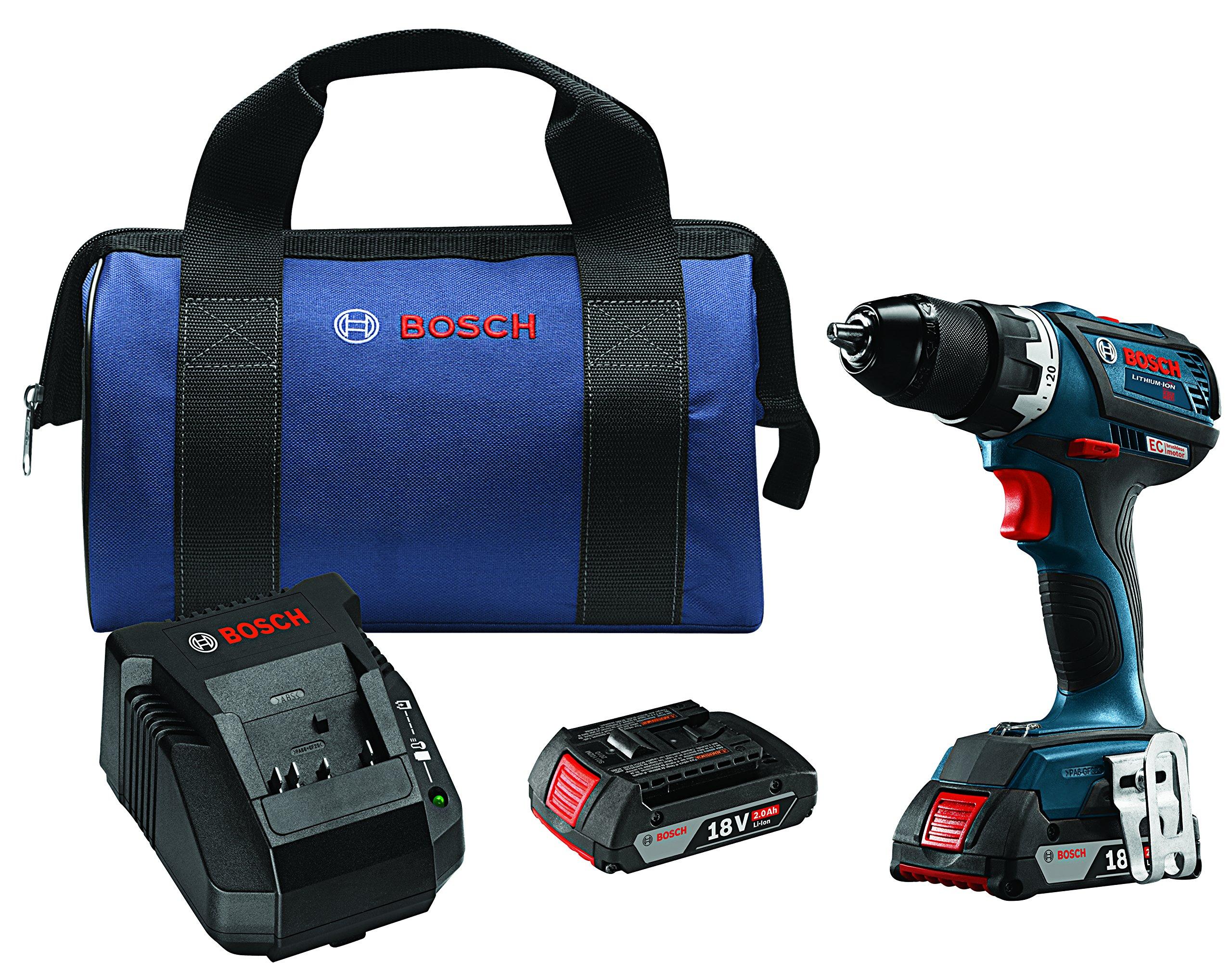 Bosch DDS183-02 18V EC Brushless Compact Tough 1/2'' Drill/Driver Kit