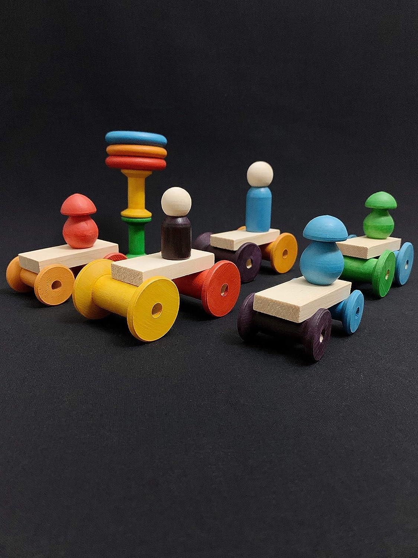 Rainbow Mushrooms Counting /& Sorting Acorns Spools Loose Parts Game